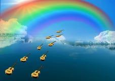 Las guitarras se van volando para un sueño imagen de archivo
