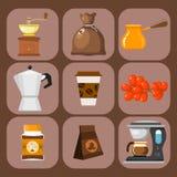Las habas de la plantación de café beben el ejemplo del vector de la cafetera de la plantación del granjero del cacao de la café- libre illustration
