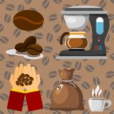 Las habas de la plantación de café beben el ejemplo del vector de la cafetera de la plantación del granjero del cacao de la café- stock de ilustración
