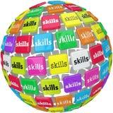 Las habilidades redactan en la experiencia requerida bola Job Career de la esfera Imagen de archivo