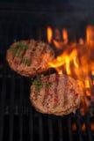 Las hamburguesas en barbacoa del verano del partido asan a la parrilla con la llama Fotografía de archivo libre de regalías