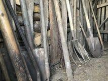 Las herramientas agrícolas del vintage se colocan en fila en un granero de madera: rastrillos, azadas, bieldo, palas y más Fotografía de archivo libre de regalías