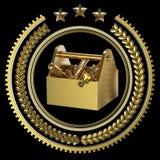 Las herramientas arriba detalladas de la caja de herramientas del metal precioso en laurel enrruellan la insignia con los anillos ilustración del vector
