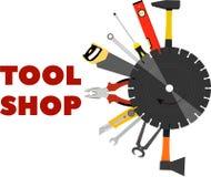 Las herramientas de la imagen para la construcción y la reparación bajo la forma de logotipo para la herramienta hacen compras libre illustration