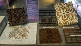 Las herramientas de la impresión para el batik hecho del acero formaron con el museo admitido foto Pekalongan Indonesia del batik Foto de archivo libre de regalías
