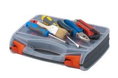 Las herramientas de la reparación están en el rectángulo plástico. Foto de archivo libre de regalías