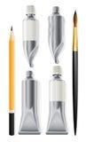 Las herramientas del artista dibujan a lápiz el cepillo y los tubos con la pintura Imágenes de archivo libres de regalías