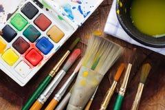 Las herramientas del pintor Foto de archivo libre de regalías