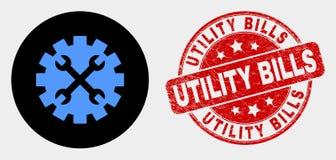 Las herramientas del vector adaptan el icono y las facturas de servicios públicos de la desolación sellan stock de ilustración