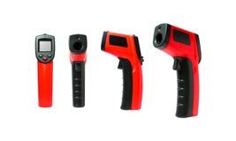 Las herramientas infrarrojas del termómetro son muchas temperat de medición usado visión Imágenes de archivo libres de regalías