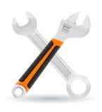 Las herramientas llave inglesa y los iconos de la llave de tornillo vector el illust Fotos de archivo