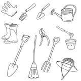 Las herramientas que cultivan un huerto alinean símbolos del icono del arte ilustración del vector