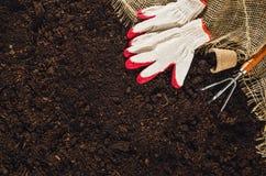 Las herramientas que cultivan un huerto en suelo del jardín texturizan la opinión superior del fondo Foto de archivo