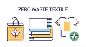Las herramientas reciclables de la materia textil alinean el sistema de los iconos del color stock de ilustración
