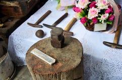Las herramientas y los equipos para hecho a mano para los accesorios hechos platean el la Foto de archivo