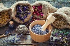 Las hierbas curativas en arpillera empaquetan, mortero de madera con lavanda seca Fotografía de archivo libre de regalías