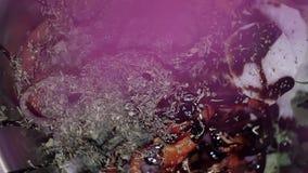 Las hierbas púrpuras secadas están cayendo en las verduras tajadas cubiertas con las hierbas grises almacen de video