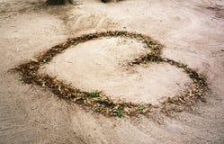 Las hojas caidas son en forma de corazón Fotos de archivo