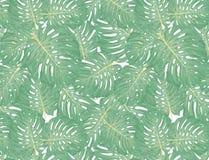 Las hojas de palma tropicales, selva salen del fondo inconsútil del estampado de flores