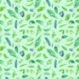 Las hojas de palma tropicales, selva salen del fondo inconsútil del estampado de flores, decoración tropical de la acuarela ilustración del vector