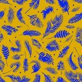 Las hojas de palma tropicales, selva salen del fondo inconsútil del estampado de flores, decoración tropical de la acuarela stock de ilustración