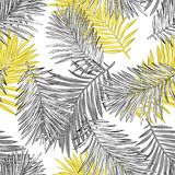 Las hojas de palma tropicales, selva salen del fondo incons?til del estampado de flores del vector stock de ilustración