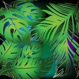 Las hojas de palma vector el modelo incons?til Fondo ornamental que brilla intensamente colorido Contexto tropical de la repetici libre illustration