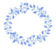 Las hojas elegantes azules del vector enrruellan alrededor de marco en estilo de la acuarela ilustración del vector