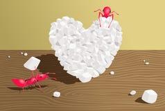 Las hormigas hacen un corazón del azúcar ilustración del vector