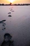 Las huellas en la playa Fotografía de archivo libre de regalías