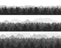 Las i góry ustawiający Fotografia Royalty Free