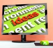 Las ideas afinan en la pantalla de ordenador que muestra creatividad Fotografía de archivo