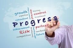 Las ideas del concepto del progreso escriben en whiteboard Imagen de archivo libre de regalías