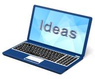 Las ideas redactan en la pantalla de la computadora portátil que muestra creatividad Imágenes de archivo libres de regalías