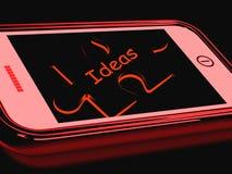 Las ideas Smartphone muestran pensamientos de la inspiración Fotos de archivo