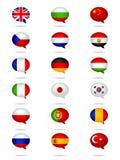 Las idiomas señalan el sistema por medio de una bandera Imagenes de archivo