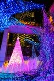 Las iluminaciones se encienden para arriba en la alameda de compras del Caretta en Odaiba, Tokio Imagen de archivo libre de regalías