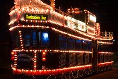 Las iluminaciones viajan a la tranvía en Blackpool, Lancashire, Inglaterra, Reino Unido Imágenes de archivo libres de regalías