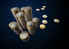 Las imágenes de monedas euro suben la tabla Imágenes de archivo libres de regalías
