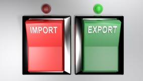 Las IMPORTACIONES/EXPORTACIONES cambian - ambos seleccionados - la representación 3d libre illustration