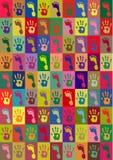 Las impresiones de manos y se alzan Foto de archivo libre de regalías