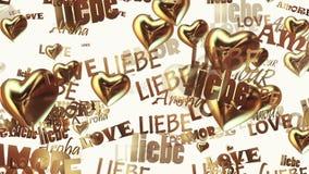 Las inscripciones aman en diversas idiomas con los corazones en color de oro en blanco libre illustration