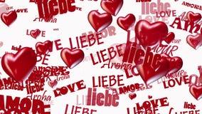Las inscripciones aman en diversas idiomas con los corazones en rojo en blanco libre illustration