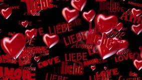 Las inscripciones aman en diversas idiomas con los corazones en rojo en negro libre illustration