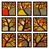 Las insignias cuadradas abstractas enmarcaron árboles del otoño con las ramas fotografía de archivo libre de regalías