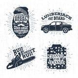 Las insignias dibujadas mano fijaron con la cara, la camioneta pickup, la motosierra, y los ejemplos barbudos de la camisa de tel Imagen de archivo