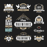 Las insignias o los logotipos retros del vintage fijaron para el día de tarjetas del día de San Valentín Vec Imagen de archivo