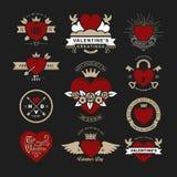 Las insignias o los logotipos retros del vintage fijaron para el día de tarjetas del día de San Valentín Vec imagen de archivo libre de regalías