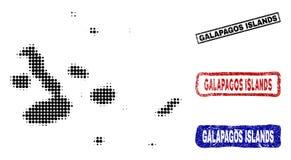 Las islas de las Islas Galápagos trazan en Dot Style de semitono con los sellos del nombre del Grunge ilustración del vector