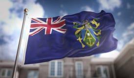 Las islas de Pitcairn señalan la representación por medio de una bandera 3D en el cielo azul que construye Backgrou Fotos de archivo libres de regalías